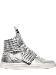 Gienchi Quilted Laminated Leather Sneakers Silver