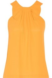 Raoul Bow Embellished Pleated Crepe Top Saffron