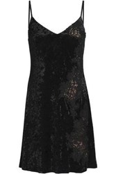 Bailey 44 Casting Couch Guipure Lace Paneled Crushed Velvet Mini Dress Black