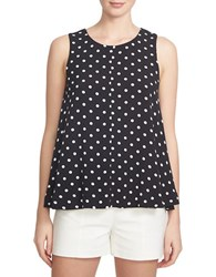 1.State Sleeveless Polka Dot Trapeze Top Black