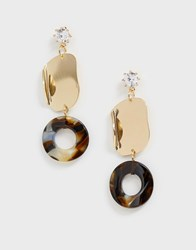 Ny Lon Nylon Drop Circle Earrings Gold