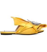 No 21 Unicorn Embellished Satin Peep Toe Mules Yellow