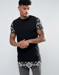 Asos Super Longline Muscle T Shirt With Contrast Aztec Sleeves And Hem Black