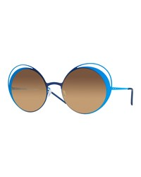 Italia Independent I Metal Thin Two Tone Butterfly Sunglasses Blue