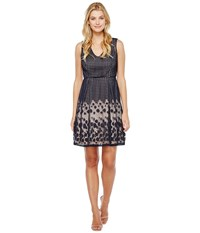 Adrianna Papell Pleated Plaid Dot Lace V Neck Fit And Flare Dress Navy Whisper Pink Women's Dress