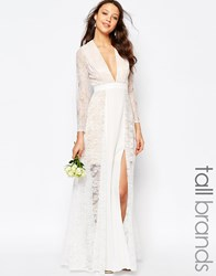 Fame And Partners Tall Laced Heaven Maxi Dress With Split White