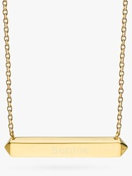 Kit Heath Personalised Sterling Silver Manhattan Bar Pendant Necklace Gold