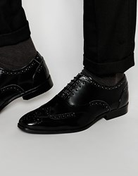 Asos Oxford Brogue Shoes In Black Polish Leather Black