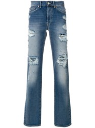 Htc Hollywood Trading Company Distressed Jeans Cotton Blue