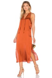 Band Of Gypsies High Neck Midi Dress Rust