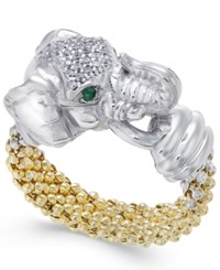 Macy's Diamond 1 5 Ct. T.W. And Emerald Accent Elephant Popcorn Ring In Sterling Silver And 14K Gold Plated Sterling Silver Two Tone