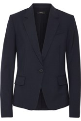 Theory Gabe Wool Blend Crepe Blazer Midnight Blue