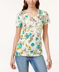 Karen Scott Floral Print T Shirt Only At Macy's New Pool Green