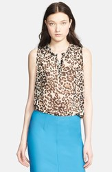 Women's L'agence Leopard Print Sleeveless Blouse