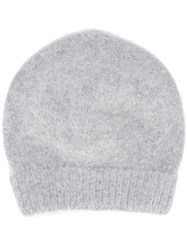 Roberto Collina Plain Knitted Hat Grey