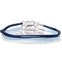 Rubinacci Set Of Three Silk And Sterling Silver Bracelets Blue