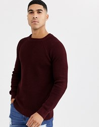 New Look Tuck Stitch Jumper In Burgundy Red