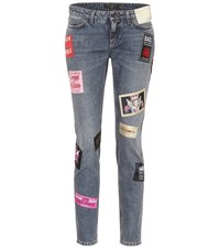Dolce And Gabbana Cropped Mid Rise Skinny Jeans Blue