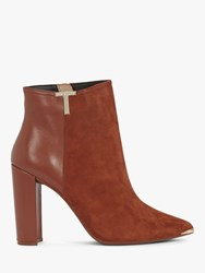 Ted Baker Inala Leather Suede Point Toe Ankle Boots Tan