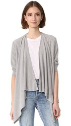 Chaser Drape Front Open Cardigan Heather Grey