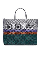 Truss Large Sunset Tote In Green Checkered And Plaid White Black