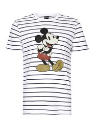 Topman Blue Navy And White Stripe Mickey Mouse T Shirt