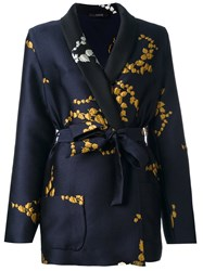 Odeeh Floral Embroidery Fitted Jacket Blue