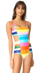 Mara Hoffman Cutout Side Swimsuit Rainbow Multi