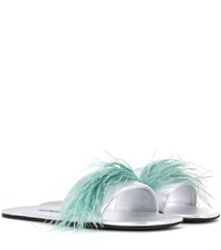 Prada Feather Trimmed Leather Sandals Silver