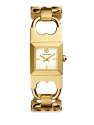 Tory Burch Double T Link Quartz Stainless Steel Bracelet Watch Yellow Gold