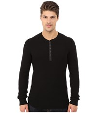 Howe Tokyo Long Sleeve Knit Henley Black Men's Clothing