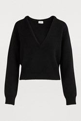 Celine Plunging V Neck Sweater Black