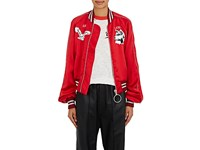Off White C O Virgil Abloh Women's Greenland Satin Bomber Jacket Red