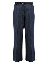 Elizabeth And James Hudson Wide Leg Cropped Cotton Blend Trousers Indigo