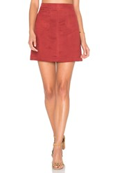 Sanctuary Serina Faux Suede Skirt Red