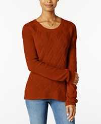 Hippie Rose Juniors' Cable Knit Pullover Sweater Pumpkin Pie