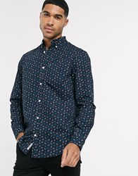 Original Penguin Geometric Print Button Down Shirt In Navy