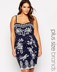 Lipstick Boutique Plus Embellished Bodycon Dress Navy