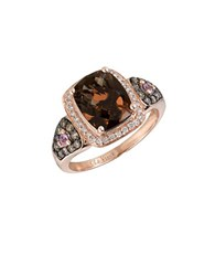 Levian Chocolatier Pink Sapphire Diamond And 14K Strawberry Gold Ring 0.35 Tcw Rose Gold