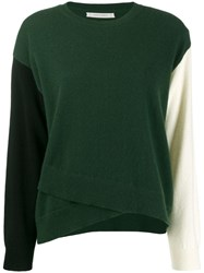 Chinti And Parker Colour Block Asymmetric Jumper Green