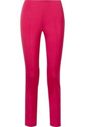 Akris Melissa Stretch Mulberry Silk Slim Leg Pants Bright Pink