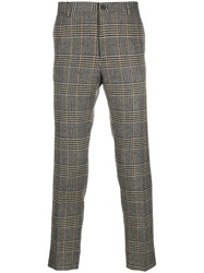 Dolce And Gabbana Glen Plaid Tailored Trousers Grey