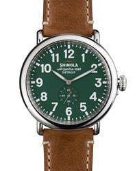 47Mm Runwell Men's Watch Green Brown Shinola Silver