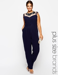 Little Mistress Plus Little Mistress Embellished Mesh Insert Jumpsuit Navy