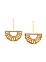 Cult Gaia Hanging Ark Earrings Nude And Neutrals