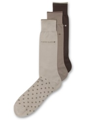 Perry Ellis Men's Everyday Value Microluxe Dot Socks 3 Pack Khaki Assorted