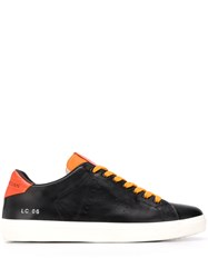 Leather Crown Contrast Lace Up Sneakers Black