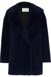 Harris Wharf London Double Breasted Alpaca Blend Coat Navy