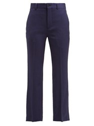 Balenciaga Mid Rise Wool Blend Trousers Navy