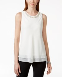 Msk Embellished Layered Sleeveless Top Ivory